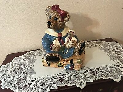 Boyds Bear Collection, Bailey Bear Sitting On Suitcase Cookie Jar.