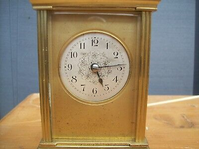 Antique French Ormolu Repeat Carriage Clock Repeating Silvered Mask Dial Clock