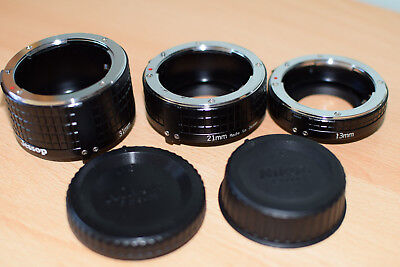 Nikon extension tubes F mount 13mm,21mm, and 31mm. used in mint condition .