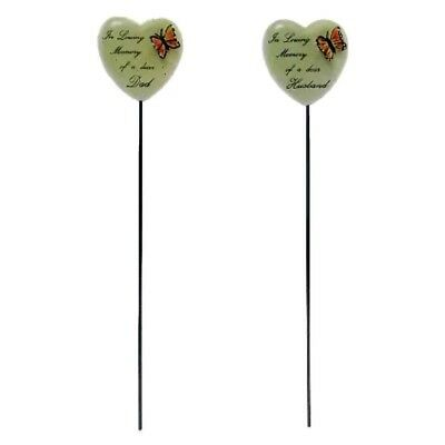 ❤HEART MEMORIAL Butterfly Stick Pick 6cm Loving Memory Grave Remembrance Funeral
