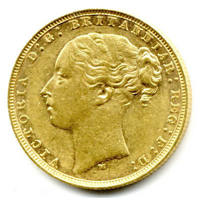 1878 M Melbourne  Queen Victoria  St.george Back Full Gold Sovereign  Coin  Au