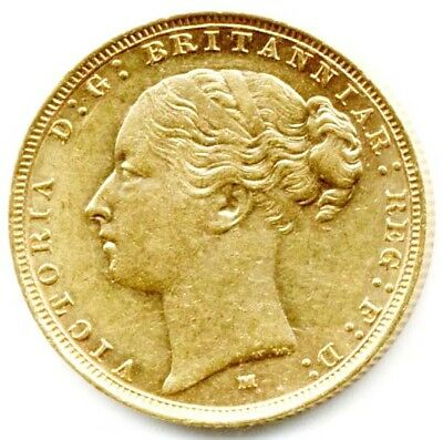 1886 M Melbourne  Queen Victoria  St.george Back Full Gold Sovereign  Coin  Au