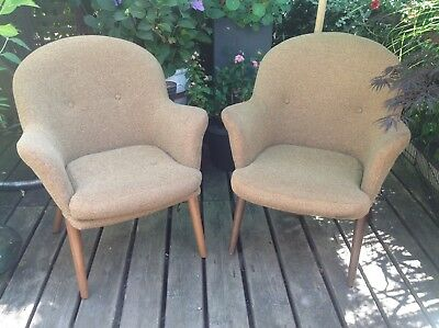 Fabulous Pair Vintage Matching Arm Chairs 1950s. Teak tapered legs.