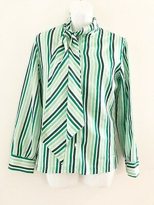 10e20889e5f188 Vintage JCPenney Fashions Womens Blouse Green White Striped Tie Neck Long  Sleeve