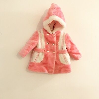 Vintage Fur Coat Pink White Winter Hood Fuzzy Toddler Baby Girl Size 18 Months