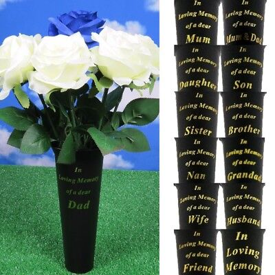 GRAVE VASE SPIKE Memorial Black Flowers Pot Loving Memory Funeral FREE Card Pick