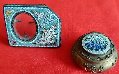 A pretty early 20th century Italian micromosaic picture frame & micromosaic box