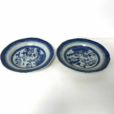 Pair of 19th Century Chinese Canton Porcelain Rimmed Soup Bowls