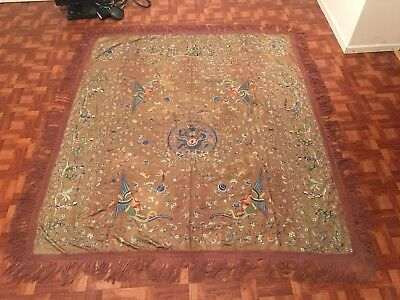 Huge Antique 19th Century Chinese Silk Textile Dragon & Phoenix Panel 83 X 95in