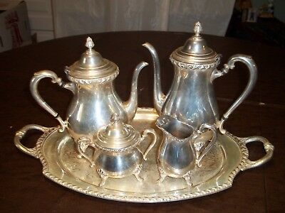 Silver Wickford International Silver Co., 5 pc. set .Tray and pots,sugar, creme