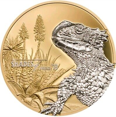2018 25g PROOF Silver  $5 SUNGAZER LIZARD Gilded Coin.  ON HANDS.