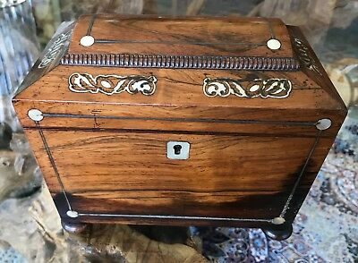 Antique George Iii 19Th Mahogany Sarcophagus Tea Caddy Mother Of Pearl