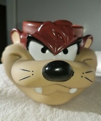 Tazmanian Devil coffee Cup Taz 3d Face Plastic Mug 1992 Warner Bros Looney Tunes