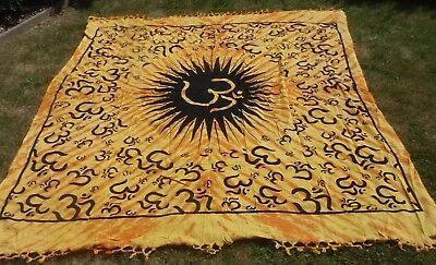 Cotton Ohm Yellow Printed Tie Dye Throw/Cover/ Wall Hanging