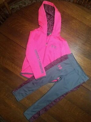 Guc Under Armour Girls Outfit Set Size 4 Zip Up Jacket Pants Pink Grey