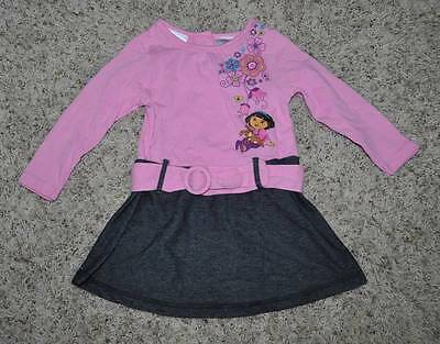 NWT-Girls Dora The Explorer & Puppy Pink Blue Denim Long Sleeve Dress-sz 18 mths