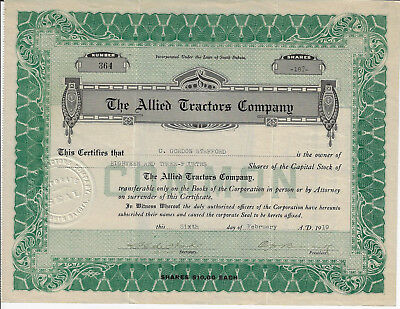South Dakota 1919 The Allied Tractors Company Stock Certificate