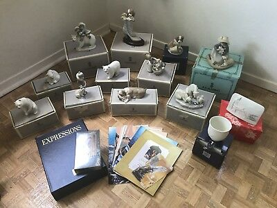 HUGE LOT OF 12 Lladro figurines w boxes - Includes no6744  - A WELL HEELED PUPPY