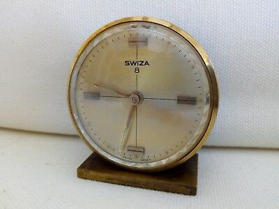 Swiza Swiss Brass 8 Day Travel Alarm Clock - fully working tested - keeps time