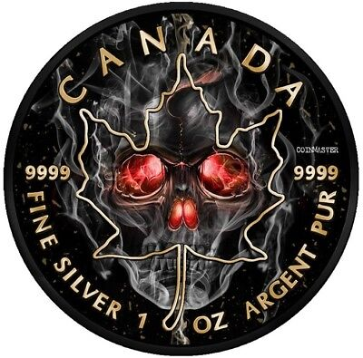 2018 $5 SMOKE SKULL MAPLE LEAF 1 Oz Silver Coin.       SECOND COIN ON THE SERIE.