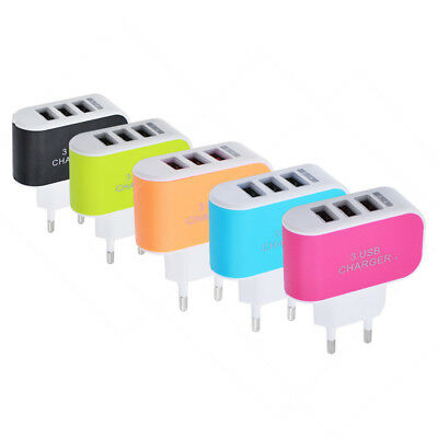 LED Doble USB 3-Puertos Phone Samsung Enchufe Adaptador Cargador de Pared 5V 2A