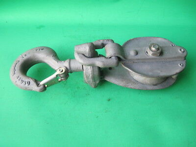 "Vintage Heavy Duty Crosby 12"" Tall Snatch Block Pulley Swivel Hook /Safety Latch"
