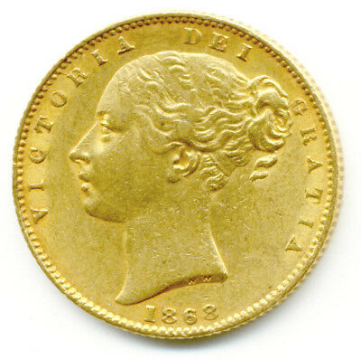 1868  Queen Victoria  Shield Back Full Gold Sovereign  Coin  Au