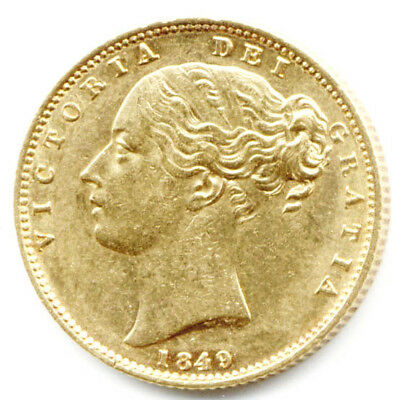 1849 Queen Victoria  Shield Back Full Gold Sovereign  Coin  Au