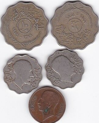 1931,1938 1959 Iraq Lot Of 5 Coins.