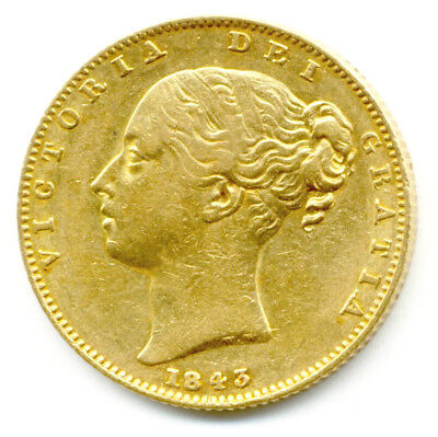 1843  Queen Victoria  Shield Back Full Gold Sovereign  Coin  Au
