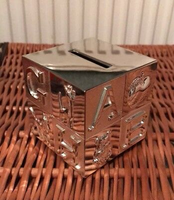Silver Cube ABC Money Box ideal for Christening Baptsim New Baby/birth present.