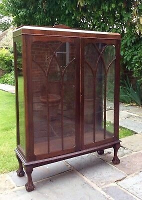 Antique Victorian glass fronted display/specimen/curio cabinet - 127cm tall