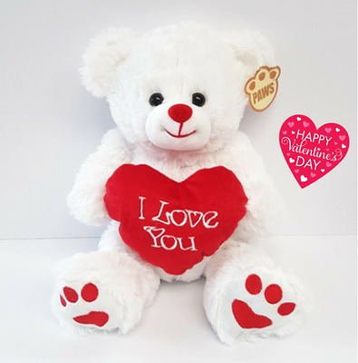 """💕VALENTINES GIFT TEDDY BEAR I LOVE YOU White Red Heart Cuddly Cute 27cm 10.5""""💕"""