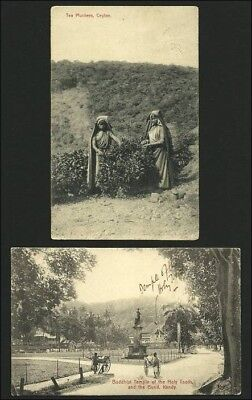 Ceylon 1907, 2 picture postcards