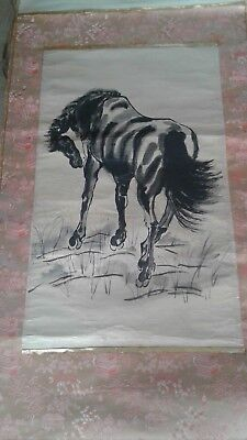 large vintage Chinese painting scroll horse in style of Xu Beihong