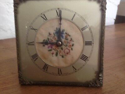 antique wind- up clock with fine needlepoint panel, shabby chic, working