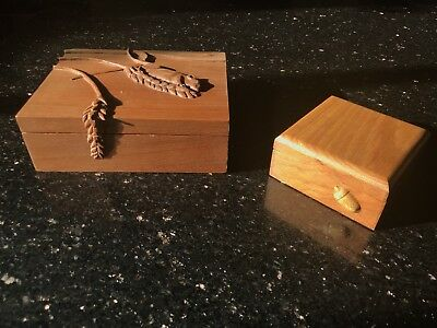 Beautiful pair of old carved wooden jewellery boxes - mouse & acorn