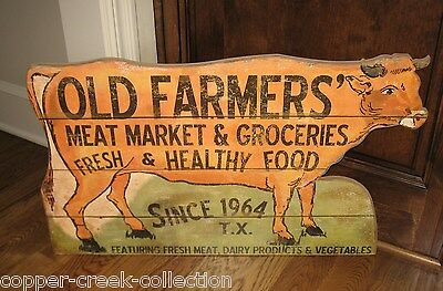 BiG COW Meat Market Butcher Grocery Trade SIGN*Primitive/French Country Kitchen
