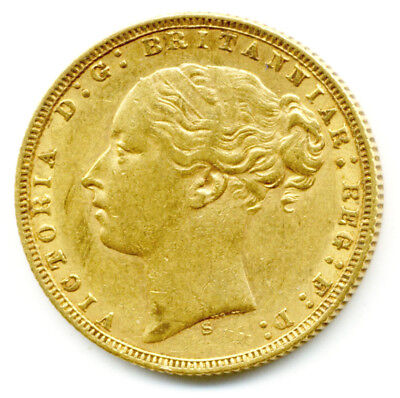 1873 S Sidney Queen Victoria  St.george Back Full Gold Sovereign  Coin  Au