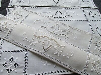 Vintage Hand Embroidered & Cut Work Dinner Table Place Mat's-Set Of Five