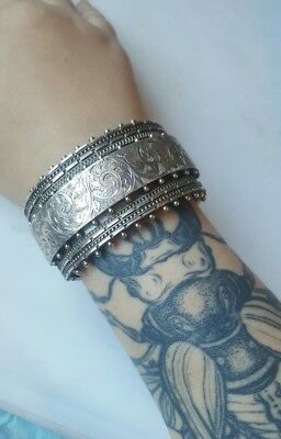 Antique Sterling Silver Victorian Hand Etched Cuff Bracelet 19th C Bangle