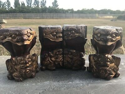 Antique carved wooden Chinese Dogs Of Foo decorative gilded furniture feet