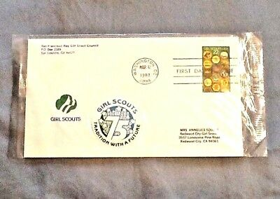 75th Anniversry First Day Cover 1987 Worlds-Explore Badges, NEW Girl Scout STAMP