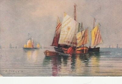 VINTAGE POSTCARD ART SHIPS ON THE ADRIATIC UNUSED (c. 1907-1915) FREE SHIPPING