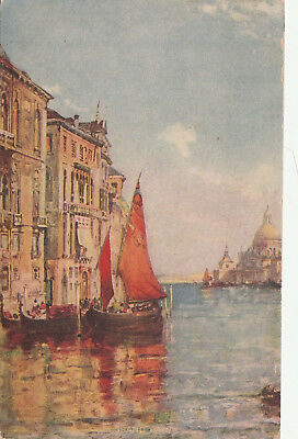 VINTAGE POSTCARD ART SAIL SHIP GRAND CANAL UNUSED (c. 1907-1915) FREE SHIPPING