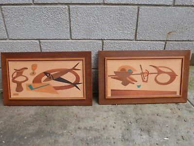 Vintage Pair Robert Lyons Mid Century Modern Wood Wall Art Prints