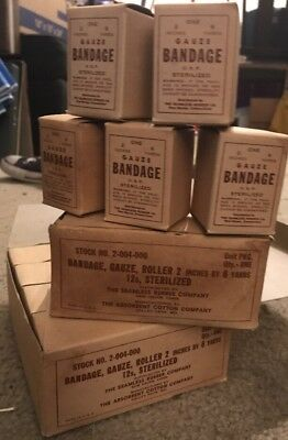 One Small Original WW2 U.S. Army Gauze Bandage, Sealed in Box from Original Lot