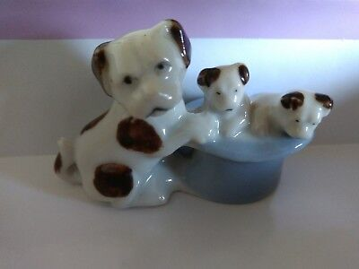Miniature Ceramic Dog With Puppies Figurine Boxer Toy Dollhouse Vintage Japan