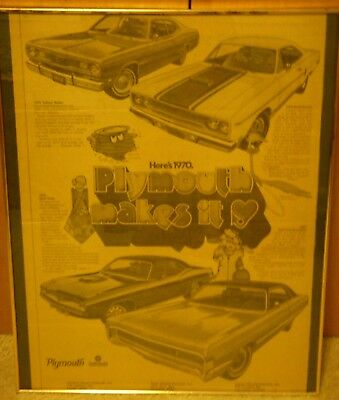 """1970 Plymouth 15x20"""" Full Page NEWSPAPER AD Duster Road Runner Hemi Fury framed"""