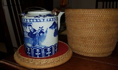 Antique Chinese travel teapot in original basket blue and white